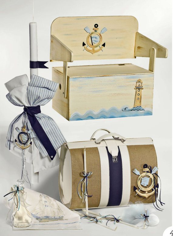 Navy set greek baptism candle baby boy Anchor theme baptism burlap handmade Marine blue beige burlap baptism bag Complete orthodox baptism
