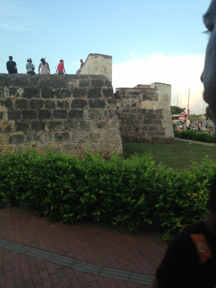 Old wall to keep the enemy out of Cartagena Colombia