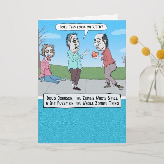 Funny Confused Zombie Birthday Card Zazzle Com Zombie Birthday Funny Birthday Cards Birthday Cards