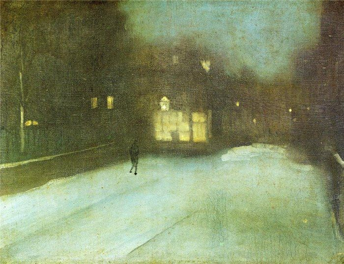 James Abbott McNeill Whistler. Nocturne in Grey and Gold: Chelsea Snow, 1876