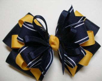 Back to School Hair Bows Pig Tail Pair Navy Blue by HareBizBows