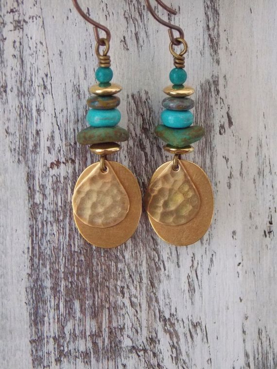 """This rustic combination of Czech glass and brass are the perfect #earrings for everyday attire. Fishhook Earwires in brass Measures 1 1/4"""""""