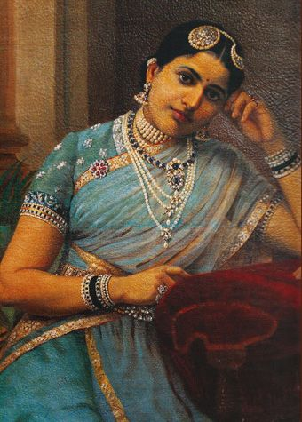 Rani of Kurupam Resplendent in her Basra pearls, diamonds and sapphires, the Queen wears a semi transparent silk shawl and fitted blouse with woven gold borders, pearls and silver zardozi embroidery. Her emellished silk skirt speaks volumes of the technical achievement of the Indian weaver. He painted the King in full princely attire. Major portions of the embroidery were done in pure gold. A Ravi Raja Poster