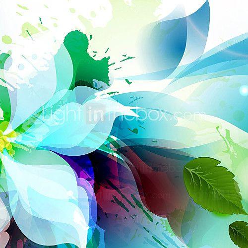 3 Modern soyut mavi çiçekler tuval seti tuval asmak için hazır yazdırmak gergin 2016 - $61.99