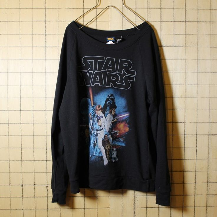 古着 STAR WARS スターウォーズ プリント スウェット ブラック トレーナー メンズM C-3PO R2-D2 ダースベイダー