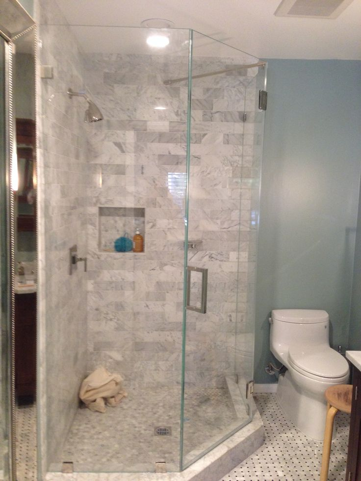 Custom Frameless Neo Angle Enclosure Shower Stall