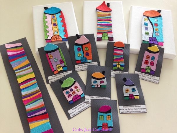 More Happy House brooches.  2016.  Free machine embroidery using rayon and polyester threads.
