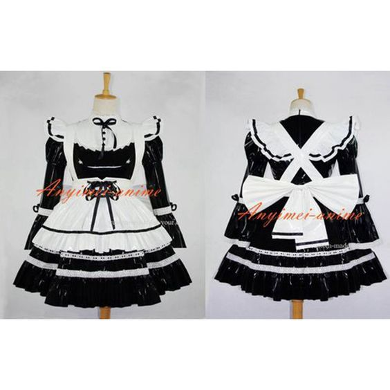 Free Shipping Black-white Sexy Sissy Maid Pvc Dress Lockable Uniform Cosplay Costume Custom-made