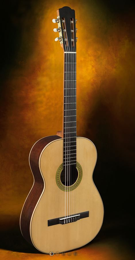 """Classical Guitars Jérôme Casanova, France Vincente Arias """"Fac-simile"""" Ind./spr. New 2016 $9,500.00 Inquire Here: 216.752.7502 Dark Ind. sides and back, old European spruce soundboard, cedar neck, very dark Ind. fingerboard, Alessi turning machine heads (copies of the original 1893 Arias' machines), French polish of shellac finish, 650mm string length, 51mm nut width, master grade materials and immaculate workmanship, hardshell case. #ClassicalGuitar #NewClassicalGuitars…"""