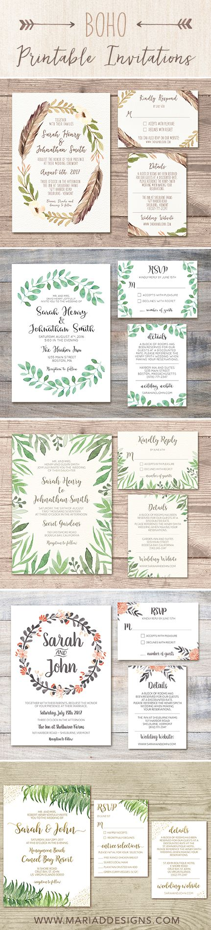 These printable wedding invitation designs are perfect for the bohemian, free-spirted, nature loving bride!!! Designed by Maria D. Designs. Available on Etsy and Mariaddesigns.com. Made with love <3 #bohowedding #printableinvitations #weddinginvitations #bohoinvitations #graphicdesign #bohemian #naturedesign #bohemianbride #mariaddesigns #art #greenwedding