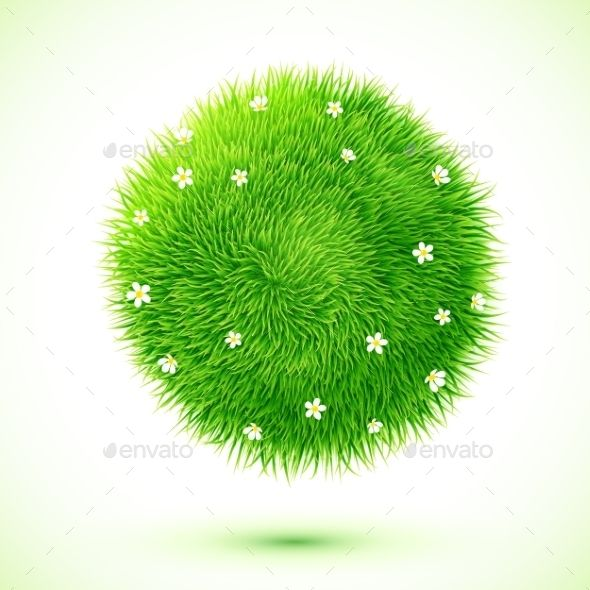 Fluffy Grass Ball with Flowers