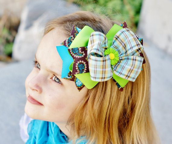 brown/lime/turquoise hair bow...lovely baby hairbow...headband for infants,toddlers,and big girls...baby bow...infant head band via Etsy