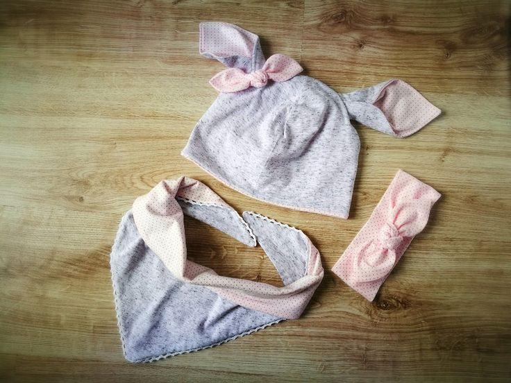 Komplet czapka apaszka opaska pi up  różowa  szara - MadebyKaza - Kominy dla dzieci