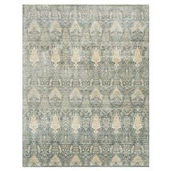 Bazaar Beige Medallion Blue Silk Rug - 2'6x4 | Kathy Kuo Home