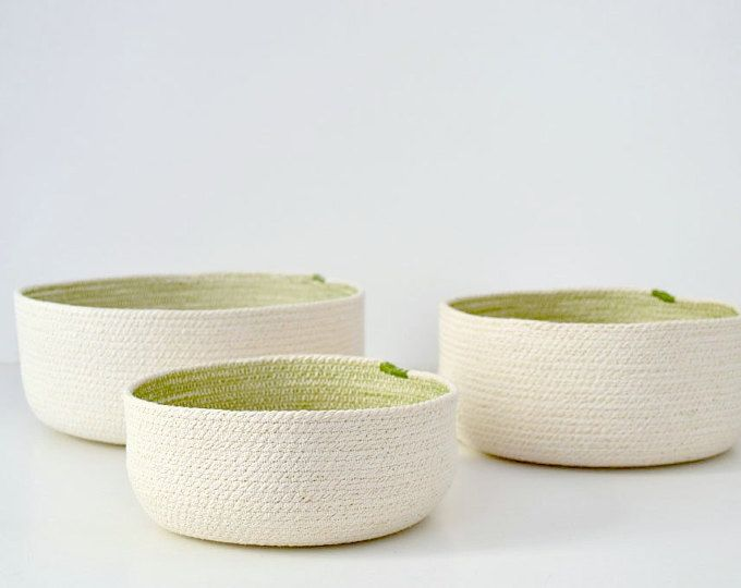 Coil rope basket, Nesting bowls, Bowls and baskets, Modern home decor, Decorative bowl Cotton rope bowl Craft storage Fruit bowl Cotton rope