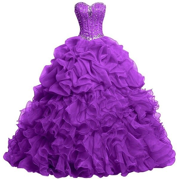 Topdress Women's Sweetheart Quinceanera Dresses Beaded Ball Gown Prom... ($83) ❤ liked on Polyvore featuring dresses, gowns, purple evening dress, purple quinceanera dresses, beaded evening dress, beaded evening gowns and purple evening gowns