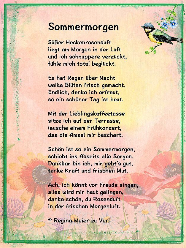 Sommermorgen | Gedicht sommer, Gedichte, Gedichte für kinder