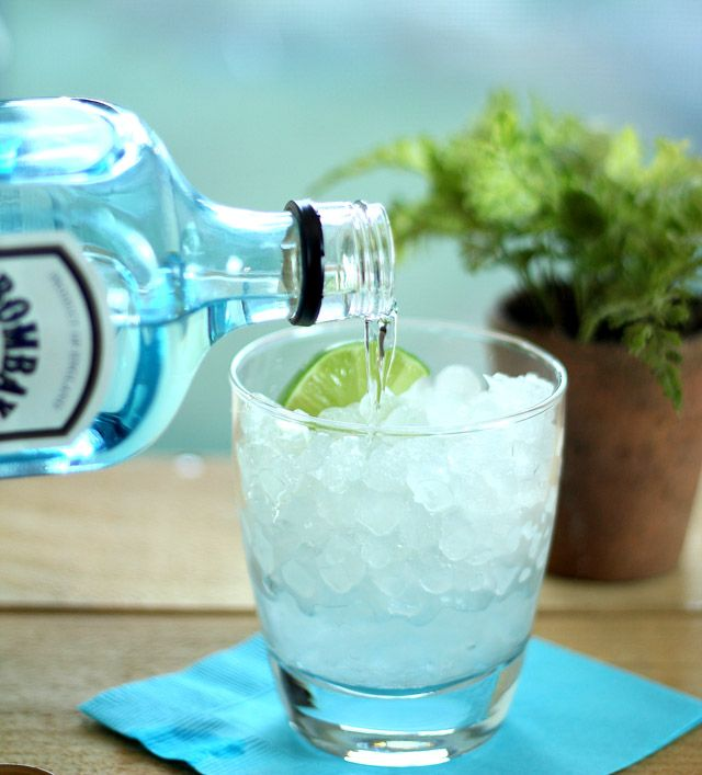 Two lime quarters      1 part gin, preferably Bombay Sapphire or Beefeater's      4 parts tonic water      Tonic Water    Preparation