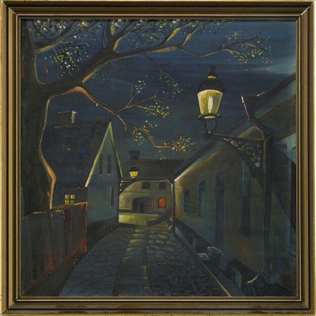 Grynmalargatan i Lund Signerad GAN. Gouache på papp, 30,5 x 30,5 cm.