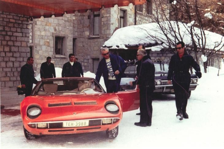 The Shah of Iran with his Lamborghini Miura (specially fitted to drive on snow) in Switzerland circa 1971.