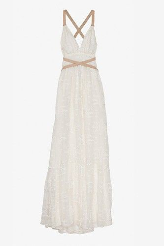 12 So-Gorgeous Wedding Gowns For A Beach-Bound Bride #refinery29  http://www.refinery29.com/beach-wedding-dresses#slide-12  Twelfth Street by Cynthia Vincent Leather Strap Embroidery Dress, $355, available at Intermix.