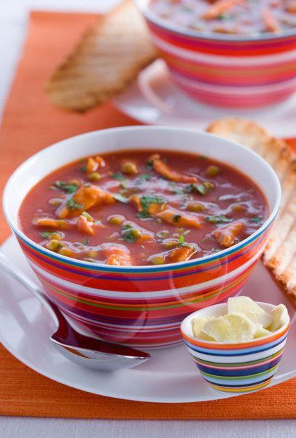 Recept voor pittige tomatensoep met kip