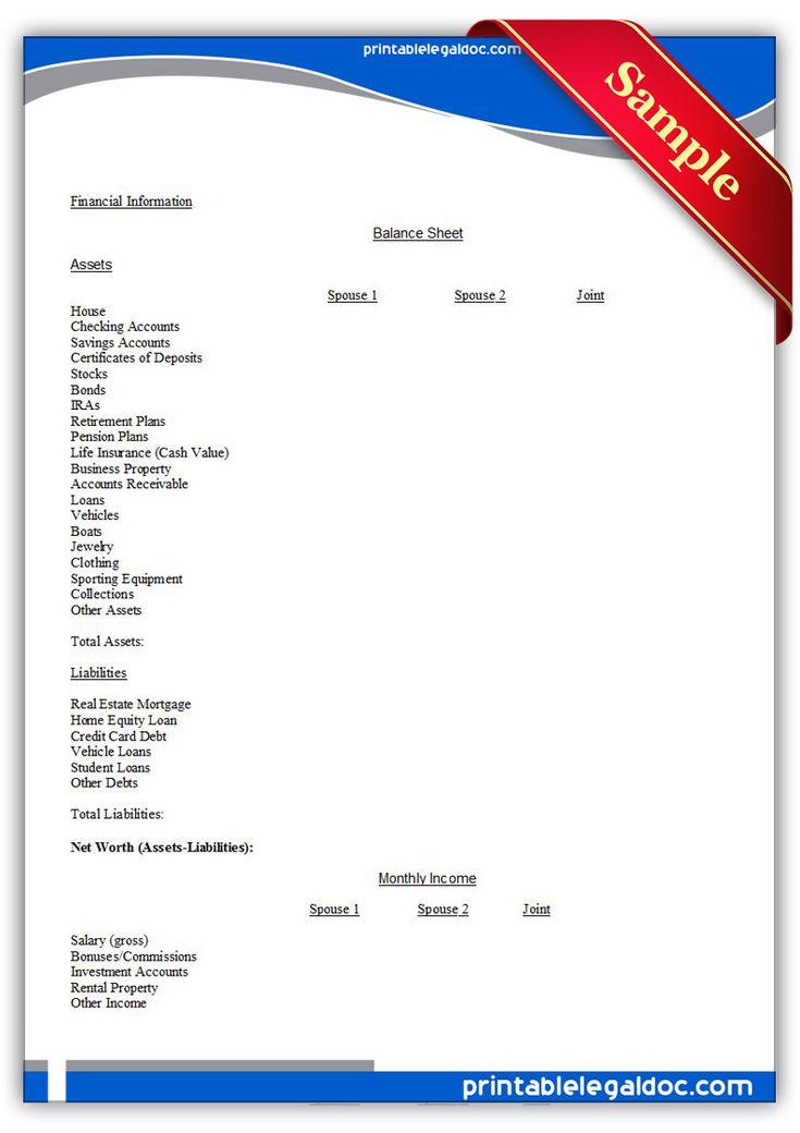 Free Printable Divorce Work Sheet   Sample Printable Legal Forms