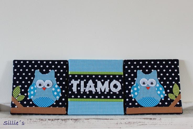 Canvas formaat 20x20cm met een naam in het midden en uiltjes aan de zijkanten. Gemaakt met stof en vilt en wiebeloogjes  Canvas size 20x20cm with the name in the middle and owls on the side. made with fabric and felt