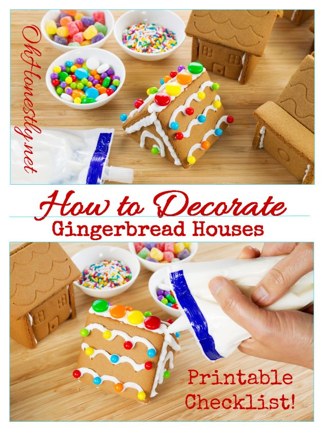 Cake Decorating Checklist : How to Decorate a Gingerbread House plus free printable ...