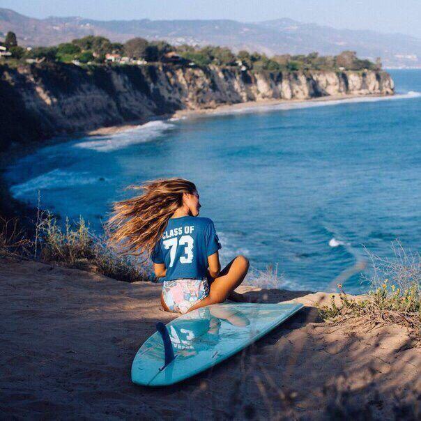 Серфинг, доска, девушка, смотри, путешествие, обрыв