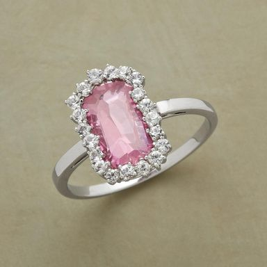 STARDOM RING -- Our pink topaz looks out upon a heavenly haphazard and sensationally sparkling galaxy of white sapphires. 14kt white gold. Handcrafted in USA by Suzanne Kalan. Whole sizes 5 to 8.