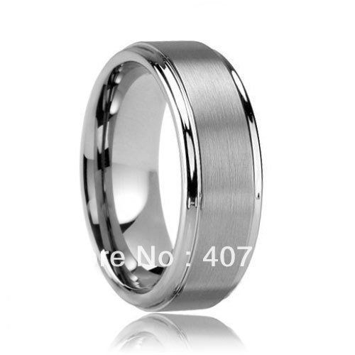 Free Shipping Wholesales Cheap Price Jewelry USA Hot Sales 8mm Men&Women's Step Matte Finished Tungsten Wedding Ring SIZES 6-13