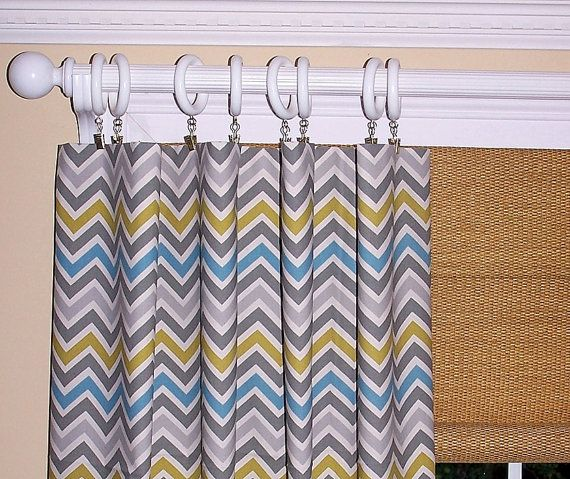 YELLOW CHEVRON CURTAINS Summerland Flowers Grey Premier Fabric Collection Two Drapery Panels 50 x 93 Geometric Stripes Mod