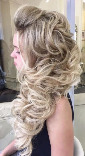Incredible side-swept teased curls wedding hairstyle for long hair; Featured Hairstyle: ElStyle