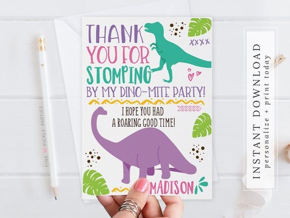 Dinosaur Thank You Card Girl Dinosaur Thank You Note Dino Etsy Print Thank You Cards Thank You Card Template Thank You Cards