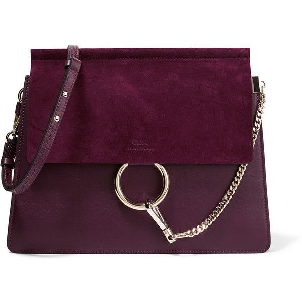 Chloé Faye medium leather and suede shoulder bag found on Polyvore featuring bags, handbags, shoulder bags, purple, chloe handbags, chloe purses, suede handbags, purple purse and shoulder handbags