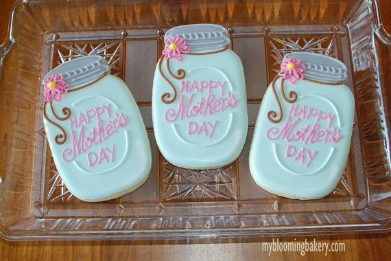 Mother's Day Mason Jar Flower Sugar Cookies 12 Rolled