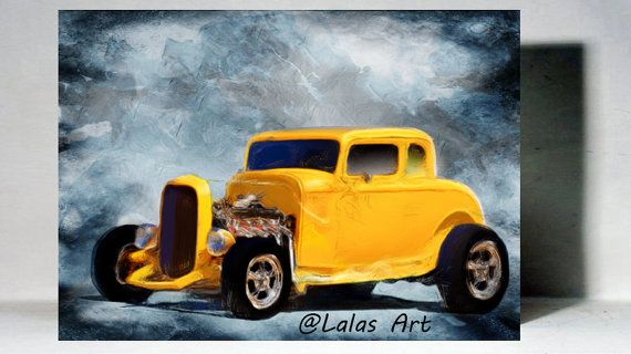 1932 5-Window Ford Vintage Retro Style Painting by LalasArtWorld
