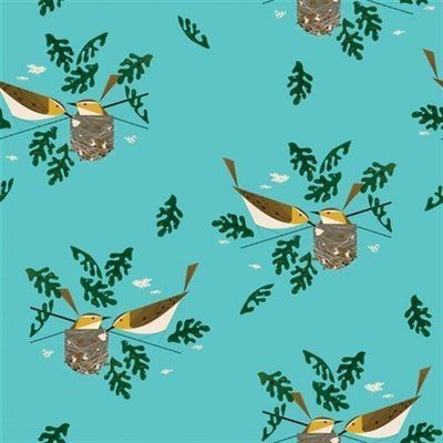 Birds on Aqua Blue - CANVAS