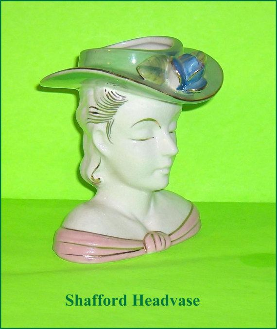Head Vase Pretty Lady Flower Holder  Shafford by EttasEmporium