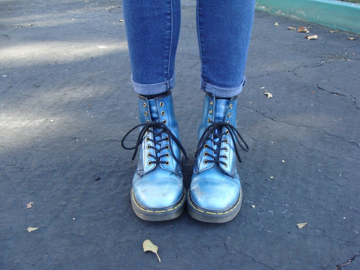 Metallic blue Doc Martens, these are my favourite Doc Martens I've seen in a long time!