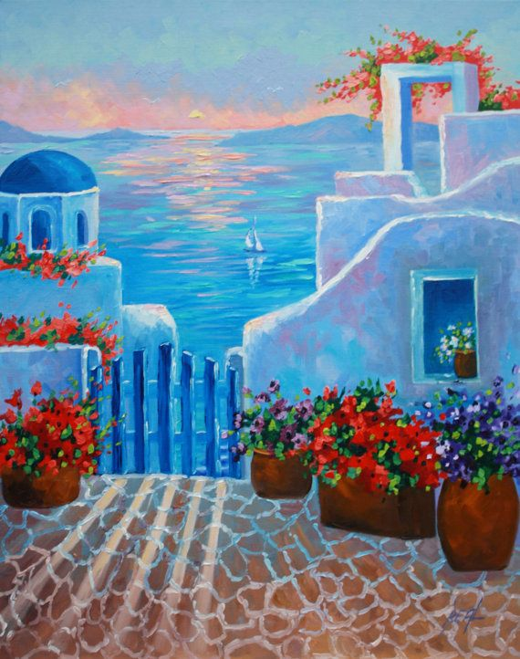 Art Oil Painting Greece Sunset Scenic Landscape by rbealart