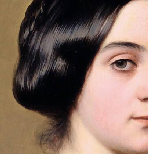 Particolari di opere, terza parte. Franz Xaver Winterhalter: Baronessa Caroline Hottinguer, nata Delessert. Olio su tela, del 1851. Locazione sconosciuta. Una gran massa di capelli setosi e nerissimi, raccolti sulla nuca.