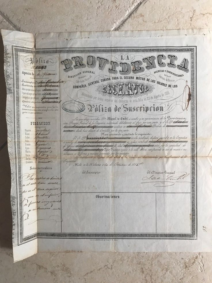 1855 Orig Cuban Spain Document African Slaves Insurance Policy La Providencia