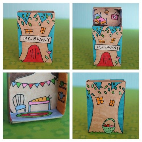 DIY Upstairs Downstairs Bunny Matchbox House Template from Homemade City…