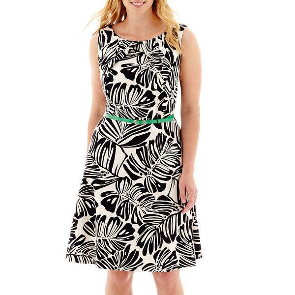 d15a695c Plus Size Alyx Sleeveless Palm Print Triple Pleat-Neck Dress ($80) ❤ liked  on Polyvore featuring plus size women's fashion, plus s…