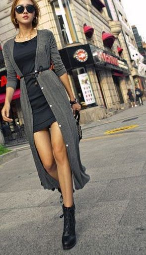 grey long shrug outfit
