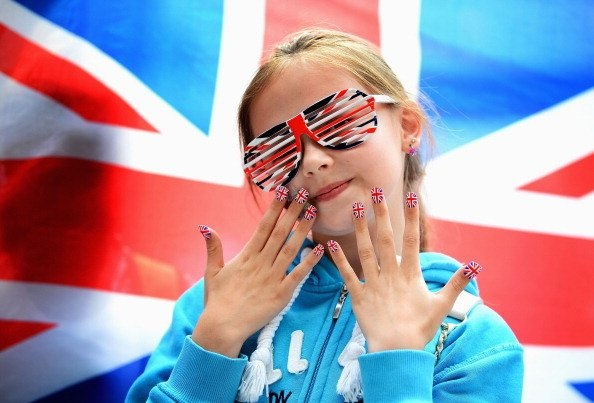 A young Great Britain fan shows off her country's colours during the Women's 63kg Weightlifting final on Day 4 of the London 2012 Olympic Games at ExCeL on July 31, 2012 in London, England. (Photo by