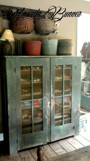 Old Painted Screen Cupboard...