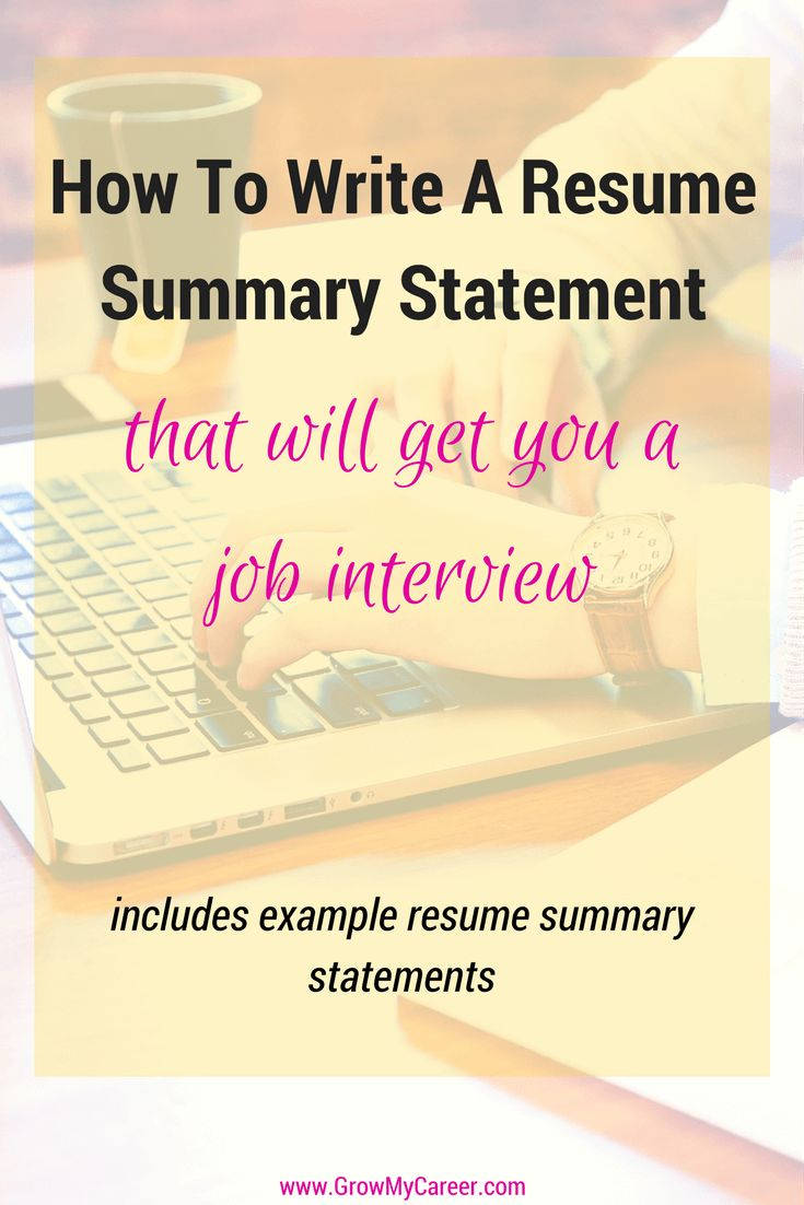 Resume Statement Summary - Writing A Resume - Job Search - Job Interview